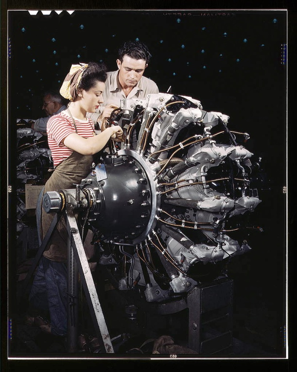 Women are trained as engine mechanics in thorough Douglas training methods, Douglas Aircraft Company, Long Beach, Calif. (LOC)