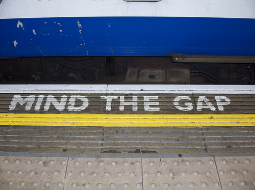 MInd the gap. Photo: Riccardo Bandiera. CC-BY-NC. http://www.flickr.com/photos/thewhitestdogalive/540622678/